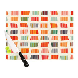 """Kess InHouse - Daisy Beatrice """"Beach Towels"""" Multicolor Cutting Board (11"""" x 7.5"""") - These sturdy tempered glass cutting boards will make everything you chop look like a Dutch painting. Perfect the art of cooking with your KESS InHouse unique art cutting board. Go for patterns or painted, either way this non-skid, dishwasher safe cutting board is perfect for preparing any artistic dinner or serving. Cut, chop, serve or frame, all of these unique cutting boards are gorgeous."""