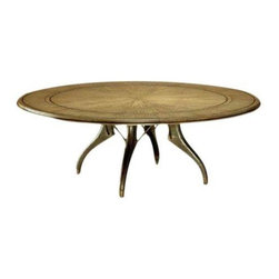 Used Parnassus Dining Table - This fabulous Parnassus lazy Susan dining table features a bronze and oak veneer top with a patinated bronze base. The table features a four legged bronze base with armature and five perimeter leaves.    The table was used for great occasions by one family and it has slight patina of dishes and wear, but overall it is in excellent condition.