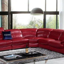 Colorful Sofas - Modern Red Leather Sectional Sofa