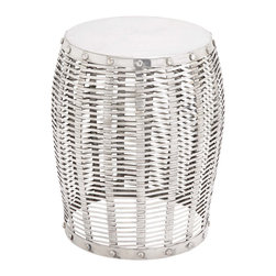 """ecWorld - Modern Aluminum Wicker Inspired 20"""" Drum Stool - Made from aluminum, this unique piece is a great addition to any environment. A contemporary look while its aluminum construction guarantees a stable seating option."""