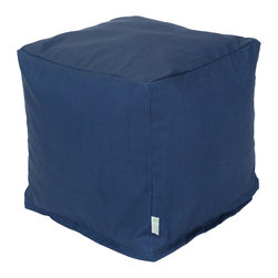 Majestic Home - Outdoor Navy Blue Solid Small Cube - Versatile, casual and fun, beanbag ottoman cubes are great to have around the house for all kinds of impromptu uses, from footstools to extra seating to side tables. With it's playful style and durable, washable cover, this comfy cube should work for you just about anywhere you need it, indoors or out. You'll wonder what you ever did without it.
