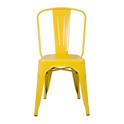 Fine Mod Imports - Talix Chair in Yellow - Set of 2 - Set of 2. Contemporary style. Outdoor powder coating protection. Curving back. Can be used for indoor or outdoor. Warranty: One year. Made from galvanized steel. No assembly required. 18 in. W x 18 in. D x 34 in. H (12 lbs.)More than three quarters of century later, the famous chair adopts new look.