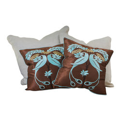 """Great Deal Furniture - 18"""" Light Blue Embroidered Pillows (Set of 2) - Add contemporary design to your seating areas with our decorative pillow sets. Featuring a linen blend cover, you'll find these pillows stylish and comfortable."""