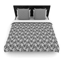 """Kess InHouse - Holly Helgeson """"Dandy"""" Grey Floral Cotton Duvet Cover (Queen, 88"""" x 88"""") - Rest in comfort among this artistically inclined cotton blend duvet cover. This duvet cover is as light as a feather! You will be sure to be the envy of all of your guests with this aesthetically pleasing duvet. We highly recommend washing this as many times as you like as this material will not fade or lose comfort. Cotton blended, this duvet cover is not only beautiful and artistic but can be used year round with a duvet insert! Add our cotton shams to make your bed complete and looking stylish and artistic!"""