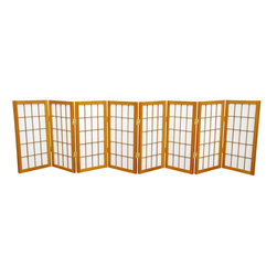 Oriental Furniture - 2 ft. Tall Desktop Window Pane Shoji Screen - Honey - 8 Panels - Featuring traditional Japanese style adapted for the modern home, this two foot tall Window Pane Shoji Screen is the perfect size for setting below or on top of a table or desk, making a modified window treatment, or using as a decorative accent. Lightweight and portable, the translucent rice paper is fiber-reinforced for extra durability and the frame is built from Scandinavian Spruce. This classic design will complement any style of decor!