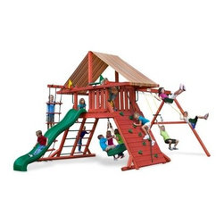 Gorilla Playsets Sun Climber I Wood Swing Set with Brannon Redwood Canopy - Every kid needs a good tree house to find adventure and hone imaginative play; and with the Gorilla Playsets Sun Climber I Wood Swing Set with Brannon Redwood Canopy, you don't even need the tree. This perch offers a high lookout from which they can view and explore the wild world around them. Outdoor play is so critical for children because their growing bodies need sunlight and fresh air to properly process nutrients. This fabulous play set has loads of features that will keep them busy all day. But not to worry, the attractive Brannon Redwood-colored Sunbrella fabric canopy will help protect them from harmful UV rays and give them a place to rest and refuel. Parents will also love the other safety features, such as securely anchored easy-grip handles; safe-option ladder; rock wall safety rope; and overall stable, square footing. Even the wood construction of this set has a natural tactile, visual, and olfactory sense - just like real tree houses and unlike other sets that are constructed entirely out of plastics and metals. As your child plays with this set, imagining it as a castle, a fort, or even a ship, the swings and numerous climbing features provide kinetic play opportunities that allow your child to flex their muscles both physically and mentally as they find different ways to explore it.Additional FeaturesTotal dimensions: 252W x 144L x 132H inchesPlatform dimensions: 6W x 4L x 5H feetIncludes flag kit, safety handles, hardware4 x 4 solid wood framing4 x 6 swing beamsNaturally resistant to rot, decay, and insect damageAbout Gorilla Playsets Since 1992, Gorilla Playsets has been designing and selling ready-to-assemble playsets. With a reputation for providing excellent customer service, Gorilla Playsets conveniently provides customers with affordable playsets including quality wood components, sturdy playset accessories, all necessary hardware, and clear instructions. Gorilla Playsets always keeps safety in mind while creating inventive, durable products that provide children with myriad possibilities for fun and play.