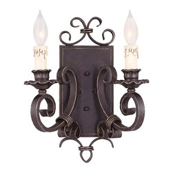 Savoy House Lighting - Savoy House 9-4318-2-17 Bourges 2 Light Wall Sconces, Forged Black - Architectural Series in a Forged Black Finish with Antique Cream Candle Covers