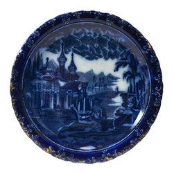 Lavish Shoestring - Consigned Flow Blue Porcelain Plate with Gr& Tour L&scape Decoration, English - This is a vintage one-of-a-kind item.