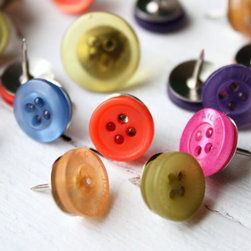 Button Push Pins by When It Rains - Why use regular thumbtacks when you can add color with these fun button ones?