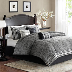 Madison Park - Madison Park Denton 7-piece Comforter Set - Denton's classic design is perfect for any bedroom. The grey jacquard print of this comforter set creates a sophisticated look that instantly updates your room.