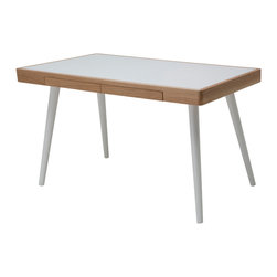 Matt White Oak White Desk - This desk by Nuevo is part of their Matt collection and comes in a white oak and white finish.