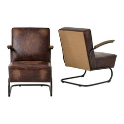 Marco Polo Imports - Mingus Club Chair, Antique Brown - Balancing dramatic scale with flea marketing-find design, the Mingus Club Chair offers comfortable seating in fresh lines,  lush linens, or buttery top grain leather. Its striking yet simple design makes it a true one-of-a-kind conversation starter. Available in Grey pinstripe linen or Antique Brown top grain leather with burlap back.