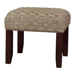 Sea Grass Ottoman w/ Wooden Legs - Woven Sea grass Ottoman with Mahogany Finish Wooden Legs.