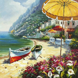 Yosemite Home Decor - Yosemite Home Decor European Shoreline Contemporary Cotton Canvas Artwork - This Yosemite Home Decor European Shoreline canvas artwork features bold tropical colors that inspire daydreams. The colorful boats have been pulled ashore and rest peacefully next to the floral and fauna. Cloth covered tables hint at an upscale resort style location.