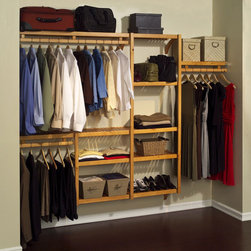 John Louis - John Louis Standard Solid Wood Closet System - Organize your closet in style with this John Louis Home standard closet shelving system. Made from 100-percent solid wood with a honey maple finish and offering multiple configuration options,this closet system is luxurious and space-saving.