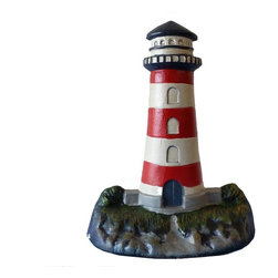 Handcrafted Nautical Decor - Painted Red/White Lighthouse Door Stop 13'' - The Ceramic Red/White Lighthouse Door Stop 13''     allows you to show your affinity for sea life and keep your door   propped   open. Beautifully hand painted, this lighthouse has touches of red and white around the white lighthouse. In addition, it  is the  perfect nautical gift for a relative, friend, or   coworker. This  door  stop is fully functional    and a great gift      for the true  nautical  enthusiast in your life. Our lighthouse door stop has a weight of 5 lbs.------    Handcrafted from ceramic by our master artisans--    Wonderful touches of red, and white adorn the lighthouse--    --    Perfect for the true nautical enthusiast--