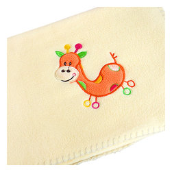 """Blancho Bedding - Orange Giraffe - YellowApplique Coral Fleece Baby Throw Blanket  29.5""""-39.4"""" - The Embroidered Applique Coral Fleece Baby Kids Throw Blanket measures 29.5 by 39.4 inches. Whether you are adding the final touch to your bedroom or rec-room, these patterns will add a little whimsy to your decor. Machine wash and tumble dry for easy care. Will look and feel as good as new after multiple washings! This blanket adds a decorative touch to your decor at an exceptional value. Comfort, warmth and stylish designs. This throw blanket will make a fun additional to any room and are beautiful draped over a sofa, chair, bottom of your bed and handy to grab and snuggle up in when there is a chill in the air. They are the perfect gift for any occasion! Available in a choice of whimsical kid-friendly prints to spark the imagination, the blanket is durable enough to look great on the go."""