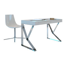 Modloft - Modloft Houston Desk - MD153 - White - Desk in Ebony Lacquer, White Lacquer or Walnut belongs to Houston Collection from LOFT Series by Modloft The Houston desk expresses a sharp edge on first glance, yet maintains an artistic presence throughout. Geometric steel chrome legs are shaped to form a stable, stylish base. Deep grooves line the desk's edging, concealing the two front panel drawers. Available in wenge or walnut wood finishes. Also available in white lacquer finish. Desk (1)