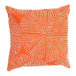 Jaipur - Luli Sanchezs Orange 18-Inch Decorative Pillow - - En Casa is the design collection of Cuban born Queens NY raised painter and surface designer Luli Sanchez. This collection is based off of her painterly works of art that capture an organic and moody yet optimistic spirit. Her geometric paintings were truly inspiring for this pillow collection       - Care Instructions: Remove the throw pillow's cover if it is removable. Wash the cover separately from the pillow. Pre-treat badly soiled or stained areas on the pillow cover with a color-safe prewash spray. Rub the spray into the stain with a damp sponge. Wash the pillow cover or the whole pillow on a gentle-wash cycle in warm water with a very mild detergent. Detergent for delicate fabrics or baby clothes is usually suitable. Remove the pillow or pillow cover as soon as the washing machine has ended the cycle and has shut off. Hang the pillow or cover up to dry in a well-ventilated area. If the care label specifies that the item is dryer-safe place the pillow or pillow cover in the dryer and tumble dry on low heat. Fluff the pillow once it is dry in order to maintain its form. Don't use the pillow until it is completely dry. Damp pillows will attract dirt more easily. Jaipur - PLC101029