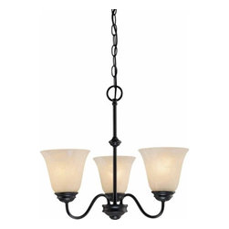 Volume Lighting - Volume Lighting V2263 Hammond 3 Light 1 Tier Chandelier with Alabaster Glass Sha - Three Light 1 Tier Chandelier with Alabaster Glass Shade from the Hammond CollectionDelicate and enchanting, this 3 light chandelier features 1 tier and charming alabaster glass.Features:
