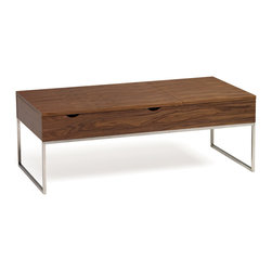 Nuevo Living - Marlow Coffee Table in American Walnut by Nuevo - The Marlow Coffee Table by Nuevo in medium stained American walnut features 2 storage areas to sleekly hide unsightly remotes and other nick-knacks when not being used. The