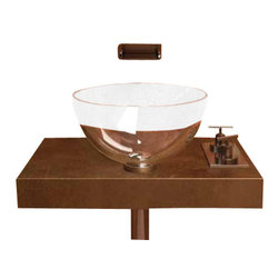 "ModoBath - Chelo T01 Crystal SInk 13.4"" - Chelo S30, 13.4"" Dia. x 5.9"" H, Vessel Bathroom Sink, in Transparent Crystal"