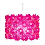 "Worlds Away Capiz Shell Floral Rosette Pink Pendant - 25""dia x 14""h."