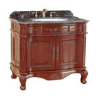 Bosconi - 37 in. Classic Single Vanity - Includes sink overflow drain. Faucet and drain not included. Vanity with large two doors. 36 in. masterpiece. Emblazoned from top to bottom with intricately carved designs. 0.7 in. thick dark emperador marble countertop. White and under mount ceramic basin sink. Three 8 in. standard faucet holes. Antique brass hardware. Made from solid wood frame, CARB PH2 certified MDF sides and panelling. Burgundy finish. Matching backsplash: 0.7 in. W x 3.1 in. H. Sink: 22 in. W x 16 in. D x 7.9 in. H. Overall: 37 in. W x 23 in. D x 33 in. H (125 lbs.)Completes the entire look of Classic sophistication.