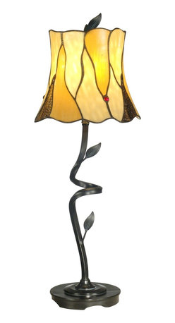 Dale Tiffany - Dale Tiffany TB11030 Twisted Leaf Tiffany Buffet Lamp - Delicate grace defines our twisted leaf Tiffany buffet lamp. The dainty shade features 21 pieces of beige and light amber art glass set in a leaf pattern. Green leaves in intervals around the shade's bottom and ruby red art glass jewels interspersed throughout provide an interesting contrast of colors. An artfully curved poly metal base with cut leaves beautifully compliments the shade's design. Base is finished in antique bronze finish.