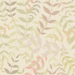 Chic Shelf Paper Climbing Vines (Greige) Shelf Paper & Drawer Liner - A creamy greige (beige/gray) backdrop is highlighted by whimsical vines in mauve, spring green, and shades of pink.