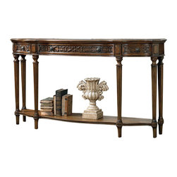 Hooker Furniture - Thin Console Table - Thin console table with three drawers.