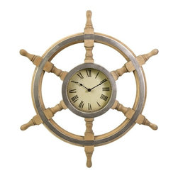 """IMAX - Wood Ship Wheel Clock - Handsome ship wheel clock with a rustic finish Item Dimensions: (26""""d)"""