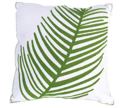 Contemporary Decorative Pillows Green Leaf Stitching Fine Fern Pillow