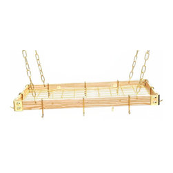 """Rogar - KD Rectangle with Grid, Light Wood/Brass - Dimensions:  30"""" x 15"""" x 2"""""""