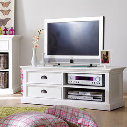 None - Interior White 2-shelf Double-drawer Media Center and TV Stand - This furniture collection is made of solid mahogany wood and provides furnishing with a romantic touch. The Interior Media Center and TV Stand beautifully complements many different styles and designs.