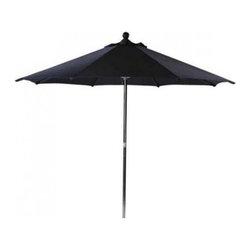 Leisuregrow, Round, Stainless Steel Garden Parasol, Pulley, Plain Black -