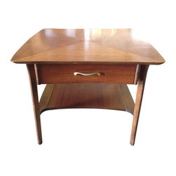 Mid-Century Side Table with Inlay Top - A vintage side table with a functional drawer and shelf. Lovely unique inlay on the table surface tops it off!