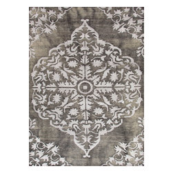 Jaipur Rugs - Hand-Knotted Tone-on-Tone Pattern Wool/ Art Silk Gray/ Area Rug ( 2x3 ) - The Heritage collection is a beautiful casual hand knotted range of rugs with a soft wool ground and art silk motifs. Each piece is skillfully overdyed to create a vintage look and give surface interest. The rugs are uber soft with a sense of antiquity and luxury.