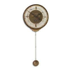 Cream Chronograph Pendulum Wall Clock - *Weathered laminated clock face with a cast brass outer rim, brass center components and long working pendulum.