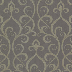 Beacon House - Olympia (Raised Ink) Demeter Wallpaper - Add real wow to your walls! This embroidered scroll paper has an exotic print and raised ink detailing for an extra element of intriguing texture.