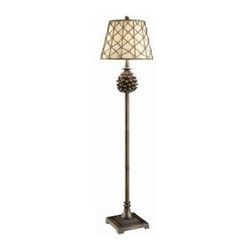 "Pine Bluff Floor Lamp - Pine Bluff floor lamp Resin floor lamp in Natural Pinecone finish (10x15x11"" Rattan Shade with Oatmeal Linen Liner) 3-way 150W max wattage bulb 61"" Height."