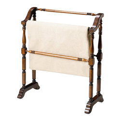 Butler Specialty - Butler Specialty Blanket Rack in Plantation Cherry - Butler Specialty - Blanket Racks - 5020024. Selected solid woods. Horizontal rods for hanging quilts comforters bed spreads duvets and blankets. Can also be used for hanging guest towels