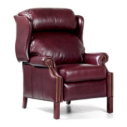 Randall Allan - Avery Recliner - You'll get that much more enjoyment from your home theater with this masterpiece. Made of wood wrapped in plunge-worthy plush foam and soft burgundy leather, this wing recliner will look great upstairs, downstairs and all around your manor.