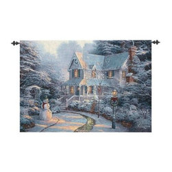 The Night Before - 53W x 35H in. - Bundle up as you step into a frosty wonderland with The Night Before - 53W x 35H in. Sugarplums are sure to be dancing in the heads of anyone who gazes at the soft beauty of this tapestry. The windows glow in the fading light of the day before the holiday. About Manual Woodworkers and WeaversManual Woodworks and Weavers is a third generation family owned manufacturing company based in North Carolina. They have been creating quality gifts home furnishings and home décor in the USA since 1932. Their innovative designs and ability to identify trends in the gift and decorative accessories industry has won them numerous number one rankings in home décor by Gift Beat Magazine.