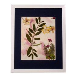 "Free Spirit, Oshibana Art - Oshibana (pressed plants) artwork in a 12"" x 15"" white frame."