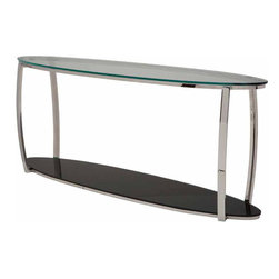 Nuevo Living - Julian Console Table - This sleek, elegantly shaped piece makes a functional and stylish addition to your favorite modern setting. Polished stainless steel and tempered glass — particularly the intriguing black bottom — work beautifully together.