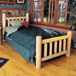 Rustic Cedar - Rustic Slat Bed - Add warmth and charm to your home or retreat with these cedar log beds. Features: -Comes with headboard, footboard, and side rails.-Dimensions are outside-to-outside, and may vary due to log size.-8'' clearance under bed.-Note: All Rustic beds come with a headboard, footboard, and side rails. At an additional cost, metal support systems for double, queen, and king beds are available. King beds will NOT support California king mattresses or box springs. Bed dimensions are outside-to-outside, and may vary due to log size. About Cedar Cedar is the natural choice because of its beauty, practicality and durability. Rustic Cedar uses only the finest cedar to create furniture that lasts for generations. It is naturally resistant to decay, insect and weather damage. Because of this superior resistance, cedar is frequently used for outdoor fencing, and siding on homes. Cedar has an exceptionally high strength-to-weight ratio, which means that it is both durable and easy to move about. It does not shrink or wrap as many other woods commonly do. Unlike pressure-treated wood furniture, Rustic Cedar uses no chemical preservatives that may be harmful to your family's health. All cedar log furniture is subject to the natural process of checking as the wood ''seasons.'' Checking occurs as wood releases moisture across or through the annual growth rings and it does not affect the structural performance or integrity of the wood. Therefore cracks in Cedar furniture are quite normal and can happen at any time. The cracks can vary in sizes but are sure to not affect the quality or resistance of the product as this is a natural process of Cedar furniture..-Distressed: No.-Collection: Rustic.-Country of Manufacture: Canada.Warranty: -Manufacturer's 5 year limited warranty. About the Manufacturer: About Rustic Cedar Furniture Crafted with care in Quebec and Brit'sh Columbia, Rustic Cedar's long-lasting good looks, low maintenance, beauty, and comfort make i