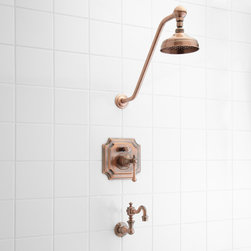 Vintage Pressure Balance Tub and Shower Faucet Set With Lever Handle - Intricately detailed, the Vintage Tub & Shower Set with Lever Handle displays a luxurious oversized shower arm, a uniquely shaped pressure valve trim and a multiple tiered tub spout. This set is a great way to update your bathroom with a classic and beautiful look.