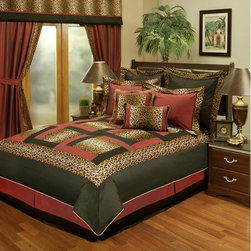 "Sherry Kline - Jungle Passage Cheetah 8-piece Comforter Set - Features: -Available in Queen or King sizes. -Set includes 1 comforter, 1 bed skirt, 2 shams, 1 boudoir pillow, 1 square pillow and 2 euro shams. -Color: Black, red and plush. -Cheetah animal print with black and red borders. -Update your bedroom decor with this luxurious comforter set. -Material: Polyester. -Printed fabric detail. -Dry clean recommended. -Pillows spot clean. -Made in USA. -Comforter Queen: 94"" H x 90"" W. -Comforter King: 94"" H x 104"" W. -Bedskirt Queen: 15"" H x 60"" W x 80"" D. -Bedskirt King: 15"" H x 78"" W x 80"" D. -Bedskirt drop length: 14"". -Standard Sham: 20"" H x 26"" W. -King Sham: 20"" H x 36"" W. -Square Pillow: 18"" H x 18"" W. -Boudoir Pillow: 13"" H x 19"" W. -Euro Sham: 26"" H x 26"" W."