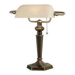 Frontgate - MacKinley Banker Desk Lamp - Georgetown bronze finish. Includes cream glass shade. On/off pull chain. Takes one 60-watt bulb. Add a pleasing traditional feel to your decor with the Mackinley Banker Desk Lamp. The traditional beveling is paired with turned-like detailing that creates an elegant design that is both beautiful and versatile.  .  .  .  .